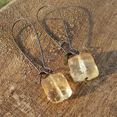Raw citrine stone earrings Oxidized brass dangles by cuppacoffee, $17.50