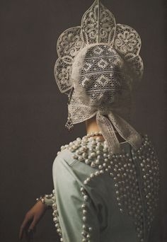 """Russian Patterns"" ~ Marta Berzkalna by Mariano Vivanco. #Russia #Russian #pearls #lace #traditional #costume #clothing #folk #dress #travel #woman"