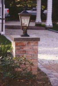Brick pillar with lights