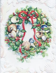 Sea Shore Wreath Petite Embossed Christmas Cards