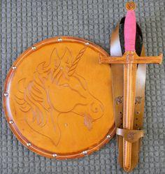 Handmade Leather Sword Shield & sword Belt Set by madebyalejandro, $130.00