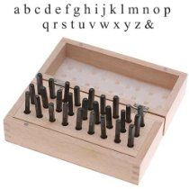 27 Piece Lowercase Block Letter Alphabet Punch Set For Stamping Metal In Wooden Box 1/8 Inch 3mm