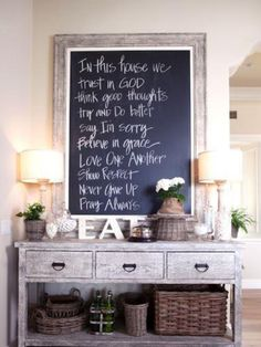 Love this buffet table & the decor on it.  Also LOVE the chalkboard sign!