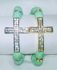 Gemstone and Cross Stretch Bracelet by NGeniousCreations on Etsy, $25.00