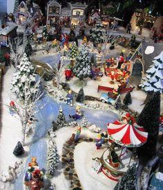 Christmas Snow Village, Using Dept 56 Snow Village pieces styrafoam and paint