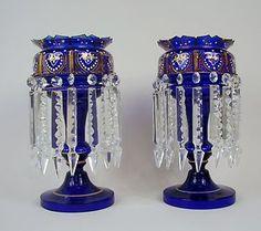 MOSER COBALT GILT ENAMELED ENAMEL GLASS LUSTERS CANDELABRA