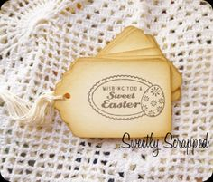 Happy Easter Tags Basket Labels Egg Vintage by SweetlyScrappedArt, $3.75