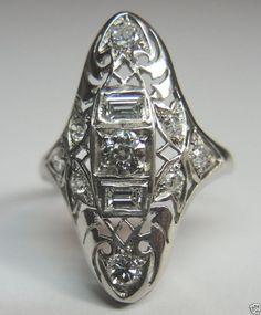Antique Diamond Engagement Ring Solitaire Platinum Art Deco Vintage Filigree #Engagement