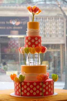 polka dots, spring weddings, tulip, cake pops, vibrant colors, wedding cakes, cake designs, bold colors, bright colors