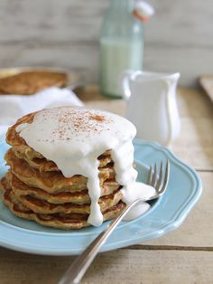 Apple Carrot Cake Pancakes with Maple Cream Cheese Topping.
