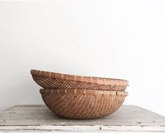 Large Vintage Woven Round Bottom Baskets