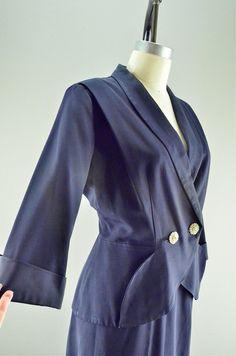 1940s suit / Vintage 40s suit / Navy blue suit / by melsvanity, $56.00