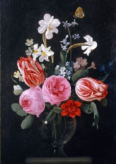 Christiaan Luyckx :   Still life with flowers.      Oh, the masterpieces of Dutch painting.  17th century.           From Google.