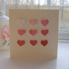 valentines card  handmade valentines card  hearts by dollywhatnot, £3.25