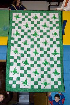 Handprint shamrock quilt