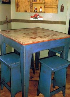 What a great primitive kitchen table! Love it!