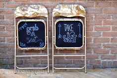 {DIY} Folding Chair Makeover w/ Chalkboard Bottom ~ Materials : Metal Folding Chairs 2 cans of Rustoleum Paint 1 yard of Fabric 2 sheets of Black Cardstock White Paint Marker