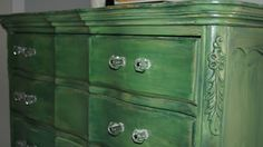 Refinishing furniture with paint and stain  (Going bold - Green dresser)
