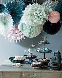 Mint Party Table van, pom poms, color palettes, color combos, blue, mint, fan, parti, paper decorations