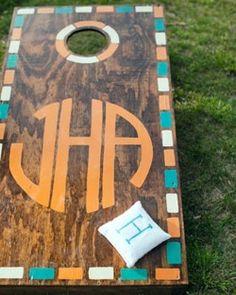 corn hole, lawn games, gift ideas, monogram, cornhole boards, backyard, bean bags, parti, wedding gifts