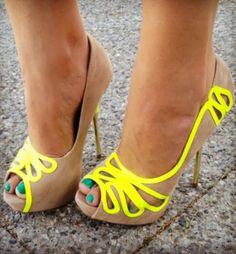 Super cute cute neon nude high heels