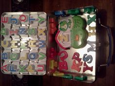 Store magnetic letters in a metal lunch box. Great car activity or keeping kids busy anywhere! Love this since L loves his letters and play with them everywhere. :) Now that its complete I'm ready for our next road trip. Luke's lunchbox was from Old Navy and not as large as this one. I had to place all the Leapfrog magnets on the sides and everything. No room for extra letters like this one. magnet letter, car travel with kids, car trip activities for kids, lunch boxes, road trip, kid busi, old navy, car activities for kids, metal lunch