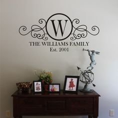 wall decor, living rooms, famili monogram, family wall, front doors, foyer, hous, entrance ways, vinyl wall decals