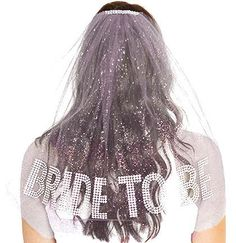 Rhinestone Gem Bride To Be Sparkle Tulle Veil - Double Layer,  Bachelorette Party Veil, White Bachelorette Veil