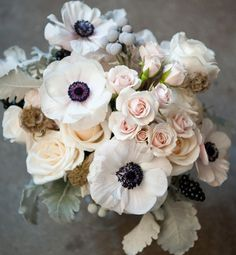 pink roses, french flowers, french anemone, flower bouquets, bride bouquets, anemone flower, growing anemones, inspir, bridesmaid bouquets