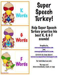 Crazy Speech World: Super Speech Turkey!  Artic cards for /k, g, f/