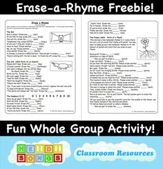 Click here to download the two page freebie for Erase a Rhyme. :)