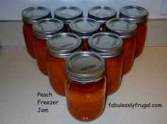 If you are a canning idiot like me, you'll love this fool-proof Peach Freezer Jam recipe. So simple! http://fabulesslyfrugal.com/2012/04/peach-freezer-jam-in-less-than-2-hours-picture-tutorial.html