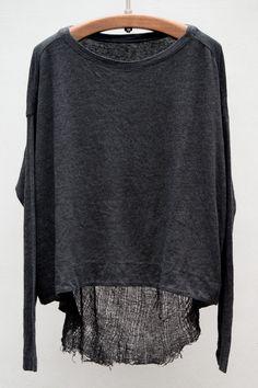 Basics Long Sleeve Reversible Cocoon — Black