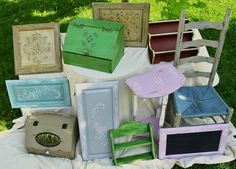 "Bunch of stuff ""Sloaned"" with Annie Sloan Chalk Paint.  Love all the colors."