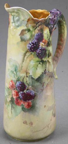 Limoges Porcelain; Pouyat (Jean), Pitcher, Floral, Dragon Handle, 11 inch / France / 1890 - 1930