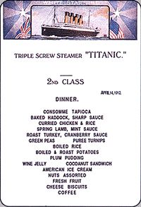 Titanic 2nd Class Dinner menu