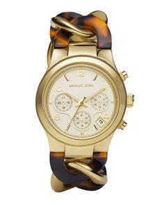 Michael Kors Chain-Link Watch, Tortoise.