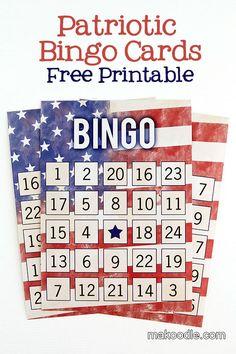 Patriotic Bingo Cards - Free Fourth of July Printable Activity;