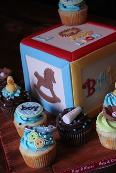 Building block cake with matching cuppies by Andrea's SweetCakes, via Flickr