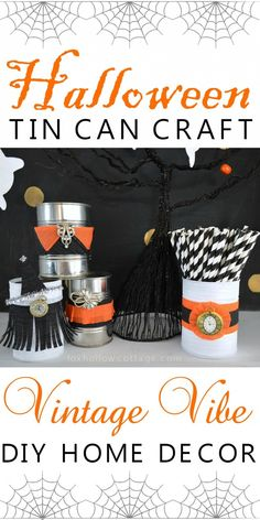 Halloween Tin Can Craft - DIY Utensil Holder Home Decor Decorating Idea (with Dollar Tree Party Streamers!) foxhollowcottage.com