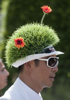 An inventive Flower show hat...