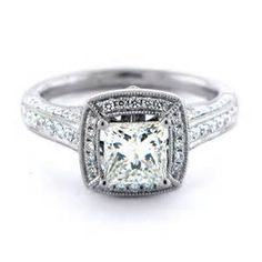 Vintage Milgrain Diamond Engagement Ring: Diamond Engagement Rings ...