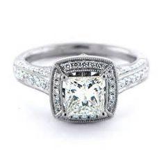 Vintage Milgrain Diamond Engagement Ring: Diamond Engagement Rings ...