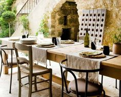 bread amp, bread oliv, outdoor space, breads, long tables, garden, tabl set, olives