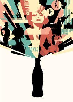 inspireanddesign:   (via Illustration / Coca Cola The Movies — Designspiration) graphic design, coca cola, fashion styles, illustrations, mad berg, cocacola, illustration art, artist, art deco posters