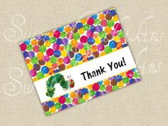 Thank You Cards -  inspired by The Very Hungry Caterpillar - Digital File - Baby Shower or Birthday