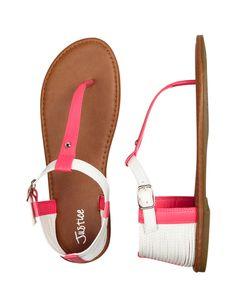 Girls Clothing | Sandals | Glitter T-Strap Sandals | Shop Justice