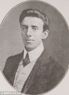 """Photograph of Wallace Hartley, bandmaster and violinist on the Titanic. The band played   the hymn """"Nearer My God To Thee"""" as the Titanic sank to calm the passengers.  That fact was remembered by many of the survivors. Mr. Hartley was 34."""