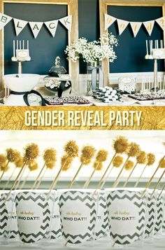 Sick of pink and blue? Try a gold + black Gender Reveal Party
