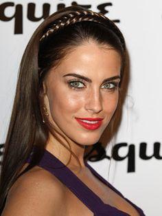 Jessica Lowndes pairs a pretty braided hairstyle with bold lipstick! black mascara, makeup, jessicalownd, eyeshadow surround, jessica lownd, mine, braided hairstyles, beauti, bronz eyeshadow